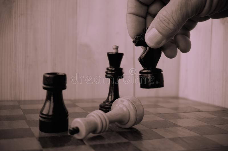 Player taking right action and making checkmate. Concept of running company and leading business royalty free stock photos
