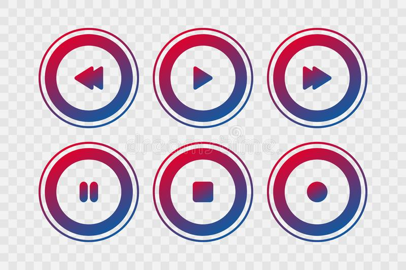 Player vector icons. Gradient play, stop, rewind, forward, pause, record isolated signs for music, buttons, web design vector illustration