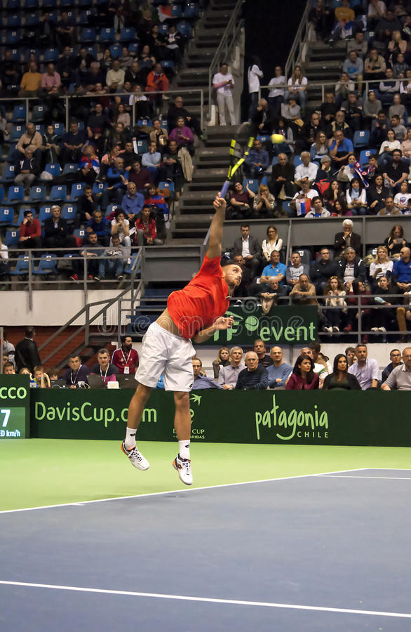 Player ViktorTroicki serving a ball royalty free stock images