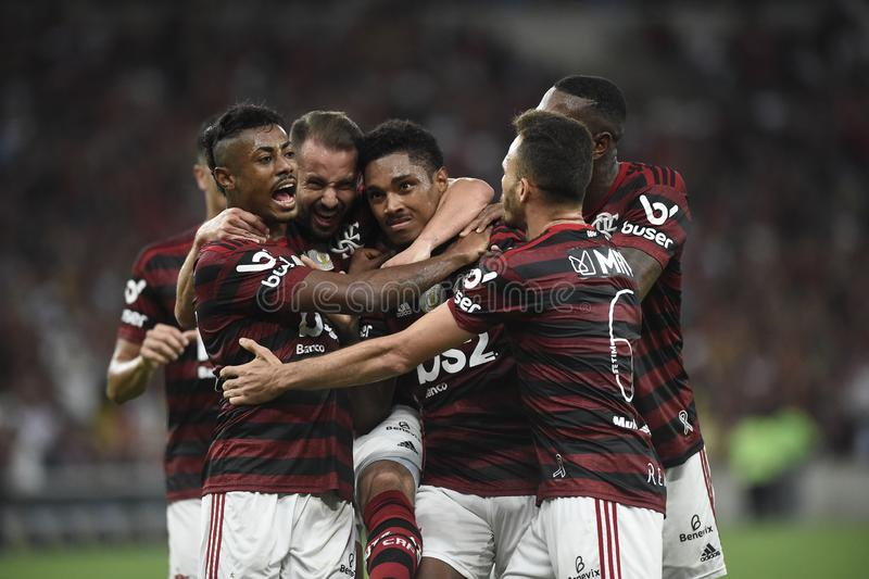Player Vitinho do Flamengo celebrates his goa royalty free stock photo