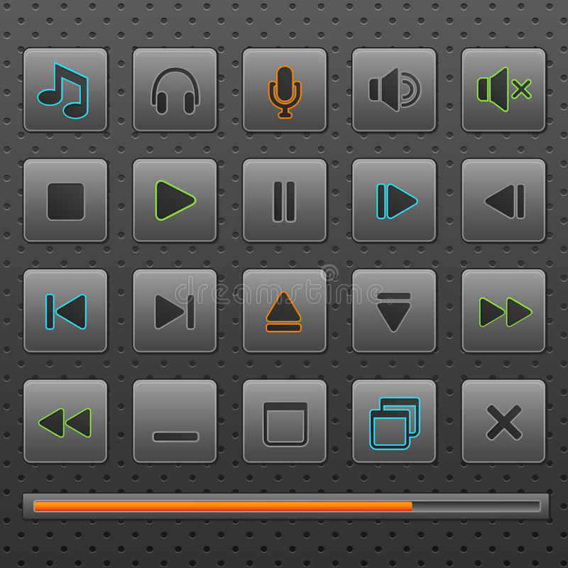 Player web buttons and music controls icons, set. stock illustration