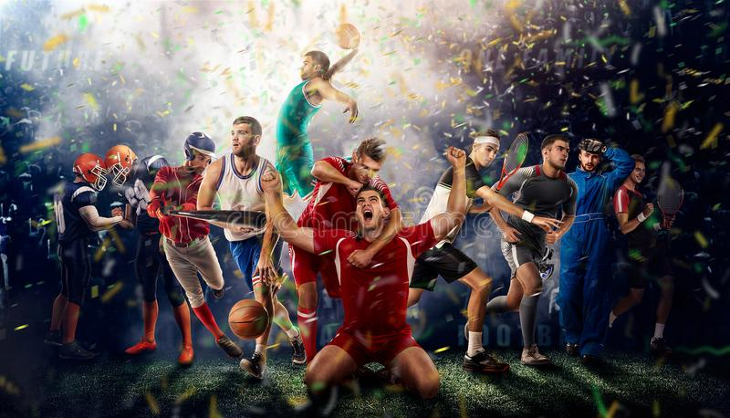 Players of different sports on the football stadium 3D rendering stock photos