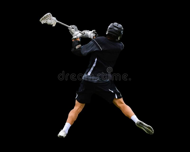 Players engaged in fierce Lacrosse action. Lacrosse action between two teams in a LAX match. Action is fierce and competitive stock images