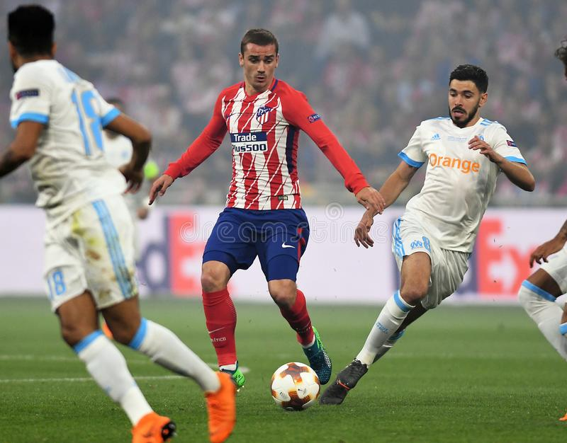 Antoine Griezmann. Players pictured during the 2017/18 UEFA Europa League Final between Olympique de Marseille and Atletico de Madrid held on 16th of May 2018 in royalty free stock image