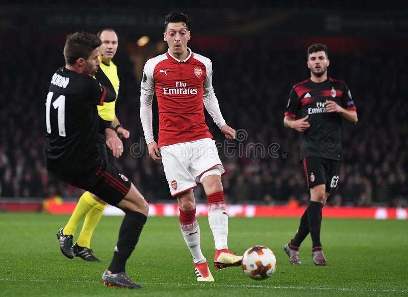 Mesut Ozil. Players pictured during the UEFA Europa League Round of 16 game between Arsenal FC and AC Milan held on March 15, 2018 at Emirates Stadium royalty free stock photography