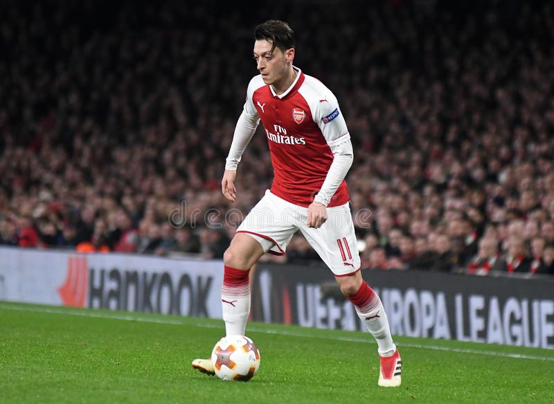 Mesut Ozil. Players pictured during the UEFA Europa League Round of 16 game between Arsenal FC and AC Milan held on March 15, 2018 at Emirates Stadium royalty free stock image