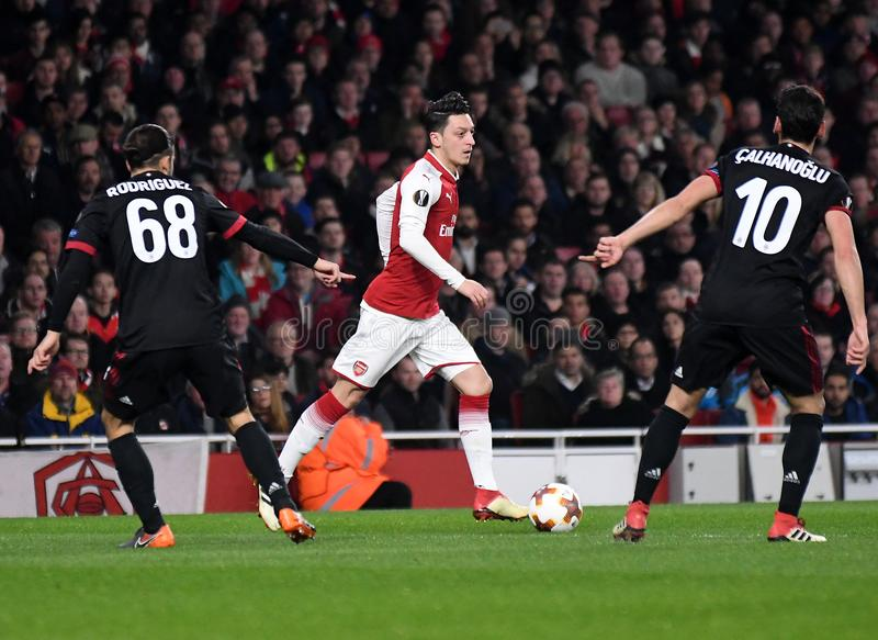 Mesut Ozil. Players pictured during the UEFA Europa League Round of 16 game between Arsenal FC and AC Milan held on March 15, 2018 at Emirates Stadium royalty free stock photo