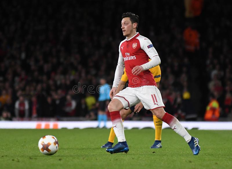Mesut Ozil. Players pictured during the 2017/18 UEFA Europa League Semi-final 1st leg game between Arsenal FC and Atletico Madrid held on 26th of April 2018 stock image