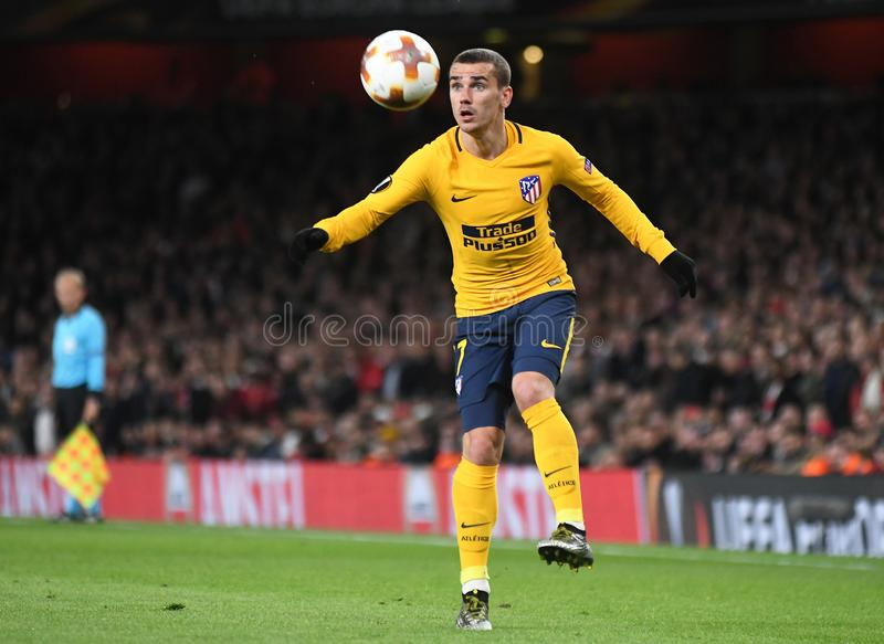 Antoine Griezmann. Players pictured during the 2017/18 UEFA Europa League Semi-final 1st leg game between Arsenal FC and Atletico Madrid held on 26th of April royalty free stock photos