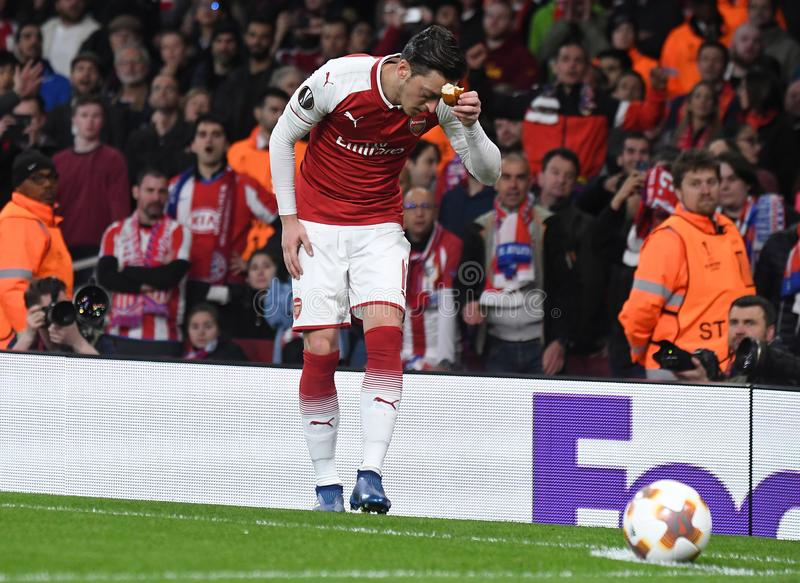 Mesut Ozil. Players pictured during the 2017/18 UEFA Europa League Semi-final 1st leg game between Arsenal FC and Atletico Madrid held on 26th of April 2018 royalty free stock images