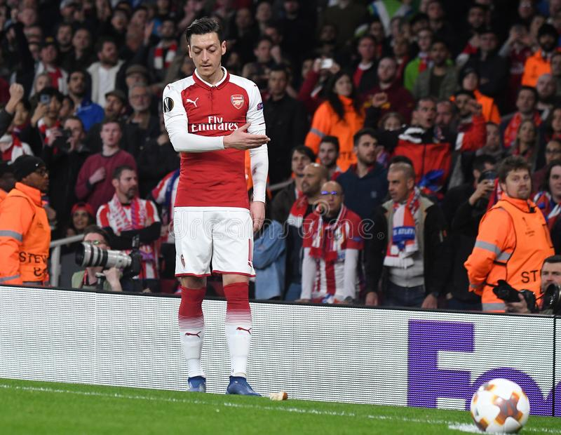 Mesut Ozil. Players pictured during the 2017/18 UEFA Europa League Semi-final 1st leg game between Arsenal FC and Atletico Madrid held on 26th of April 2018 royalty free stock image