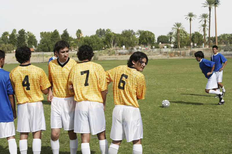 Players Preparing For Penalty Kick On Field royalty free stock photos