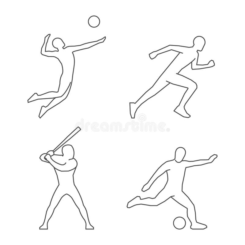 Players silhouettes volleyball, soccer and baseball. royalty free illustration