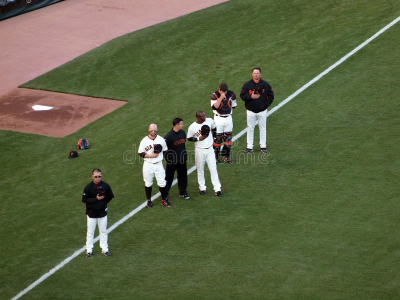 Players Stand With Hats Removed, National Anthem Editorial Photo