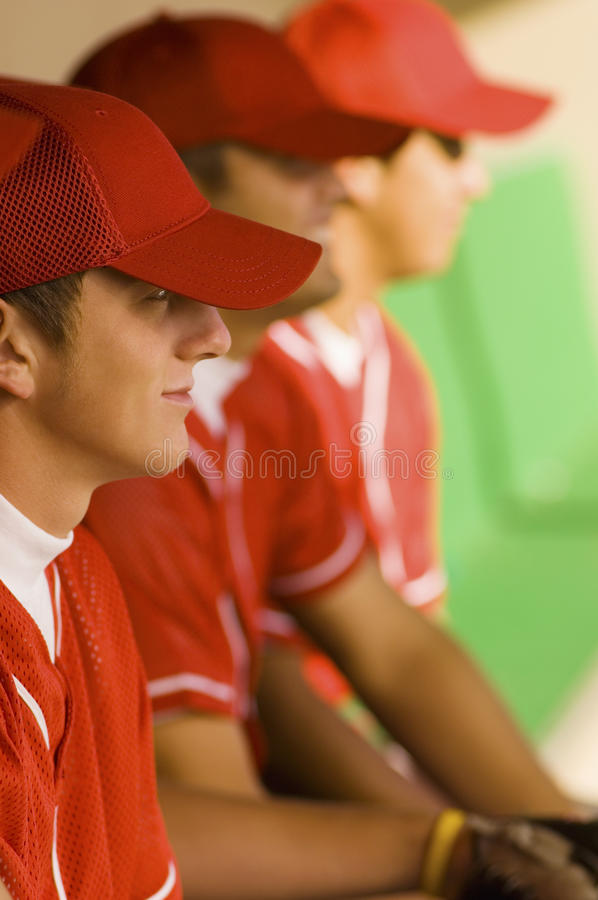 Players Watching The Game stock photos