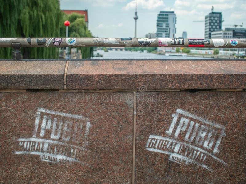 PlayerUnknown's Battlegrounds Global Invitational logo spray painted on a bridge stock images