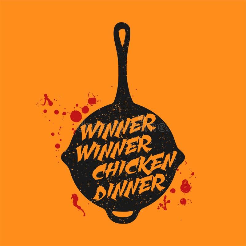 Playerunknown pole bitwy PUBG slogan - zwycięzcy zwycięzcy kurczaka gość restauracji ilustracji