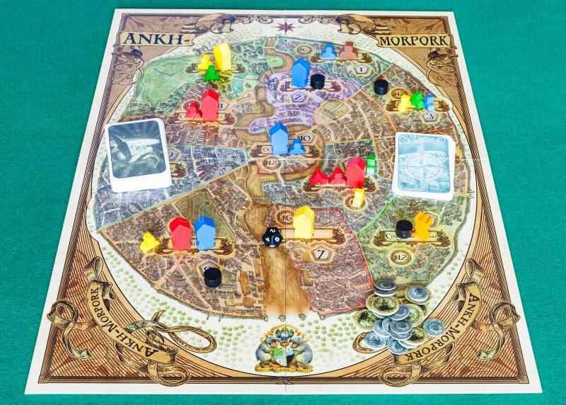 Playfield av Discworld: Ankh-Morpork brädelek royaltyfria foton