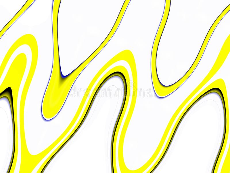 Playful black yellow waves background. Waves like shapes, abstract background. Yellow black geometric playful waves lines shapes, forms, vivid colors, abstract royalty free illustration