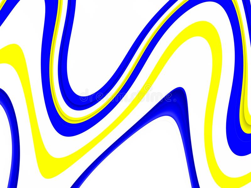 Playful blue yellow waves background. Waves like shapes, abstract background. Yellow blue geometric playful waves lines shapes, forms, vivid colors, abstract royalty free illustration