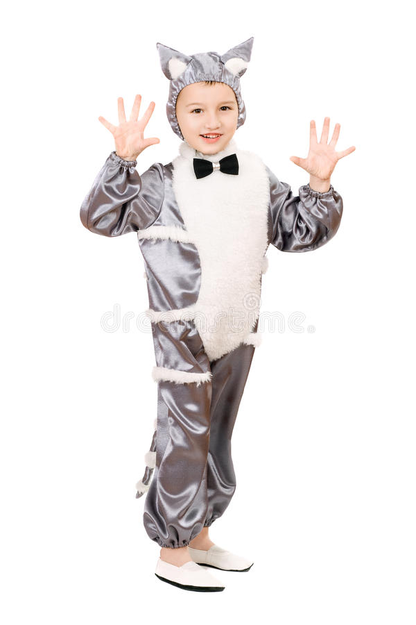 Playful boy dressed as cat stock images