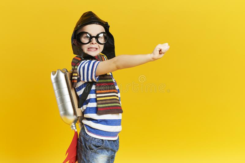 Child with jet pack stock image