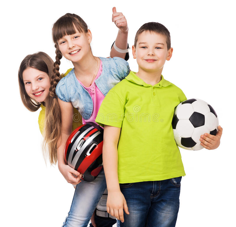 Playful children holding sport equipment in hands. Playful schoolchildren holding sport equipment in hands isolated on white background stock image