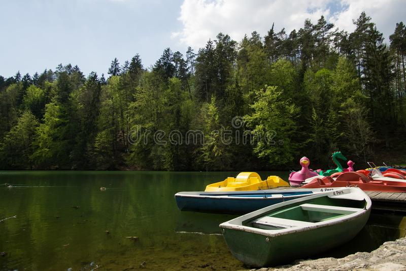 Playful colorful child-boats royalty free stock photography