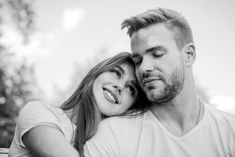 Playful couple. happy valentines day. summer vibes. family weekend. romantic date. couple in love. Skin and hair care. Couple relax outdoor. Tender feeling stock photo