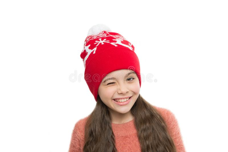 Playful cutie. Why children seems cute. Adorable baby wear cute winter knitted hat. Cute accessories. Girl wear winter royalty free stock image