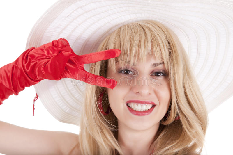 Download Playful Fashion Girl In Retro Style With Big Hat Stock Photo - Image: 21608128