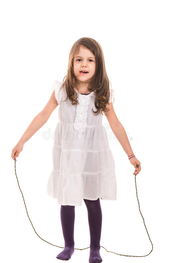 Playful girl with rope royalty free stock photos