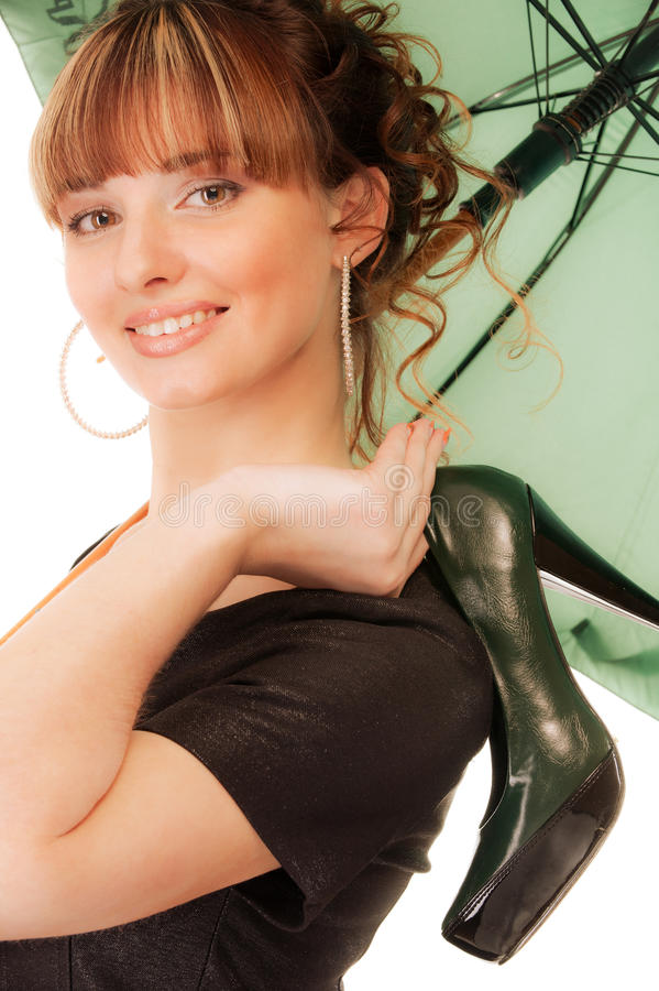 Download Playful Girl With Shoe And Umbrella Royalty Free Stock Photos - Image: 13941098