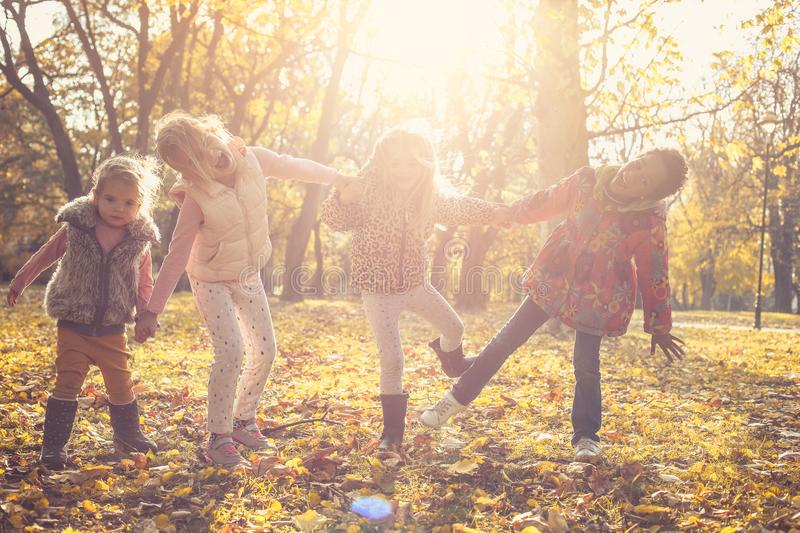 Cute little girls in nature. royalty free stock photos