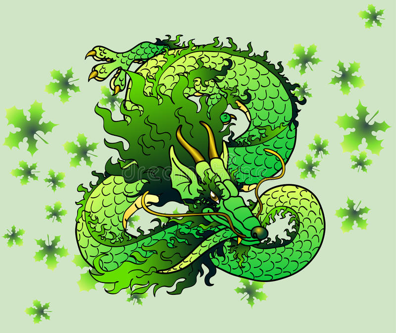 Playful green wood Asian dragon on leaves stock illustration
