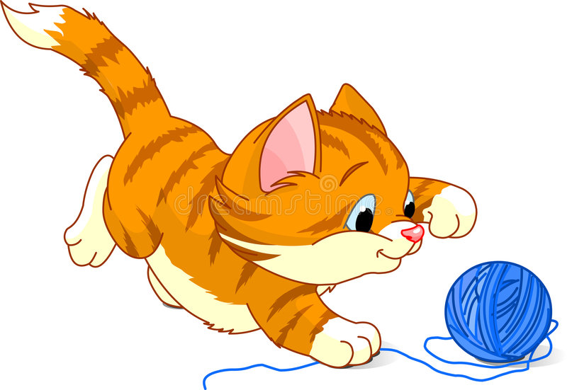 Playful Kitten. Image of kitten playing with a ball of yarn