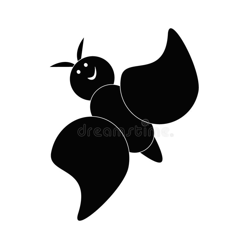 Playful laughing butterfly on a white background. Flat style vector Illustration of a cute, comical butterfly stock illustration