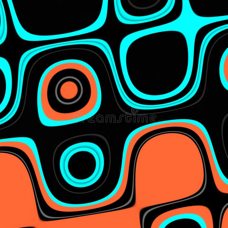 Playful lines, colorful black orange green background. Forms and fluid lines background royalty free illustration