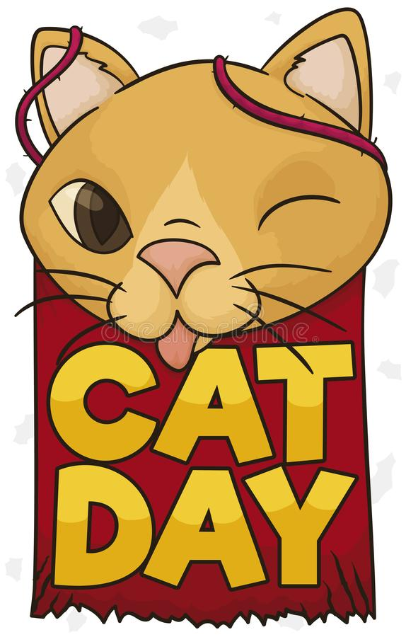 Playful and Mischievous Cat Celebrating Cat Day, Vector Illustration. Playful and mischievous cat with tongue out and winking at you with a scratched sign and stock illustration