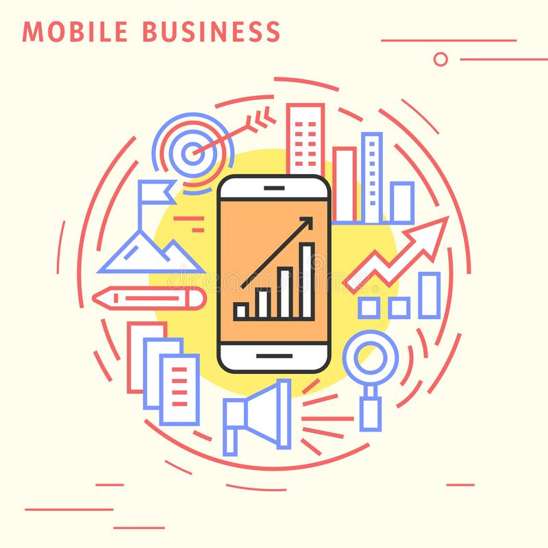 Mobile business flat line design concept. Playful and modern illustration for business and technology. Playful and modern illustration for business and royalty free illustration