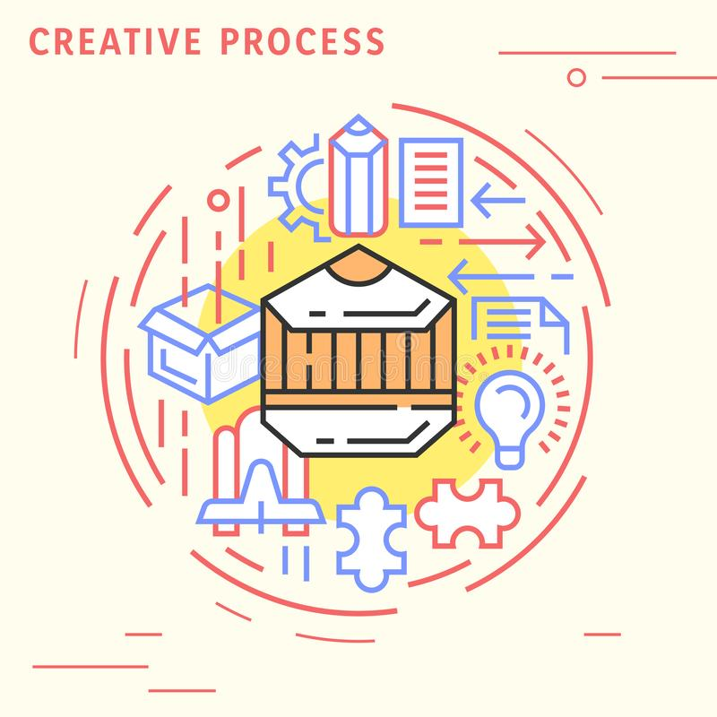 Creative process flat line design concept. Playful and modern illustration for content marketing and industries. Playful and modern illustration for content royalty free illustration