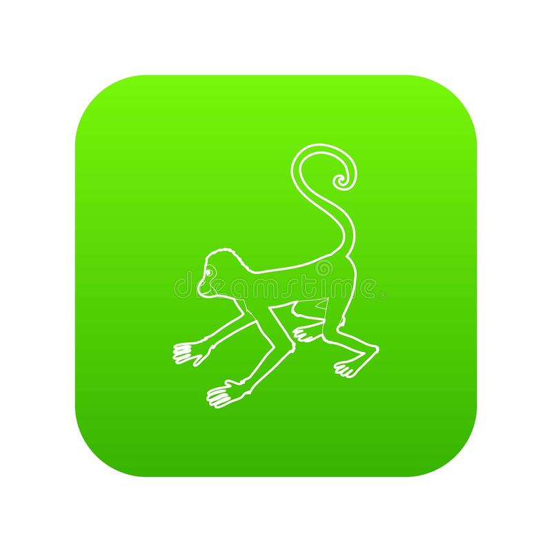 Playful monkey icon green vector royalty free illustration