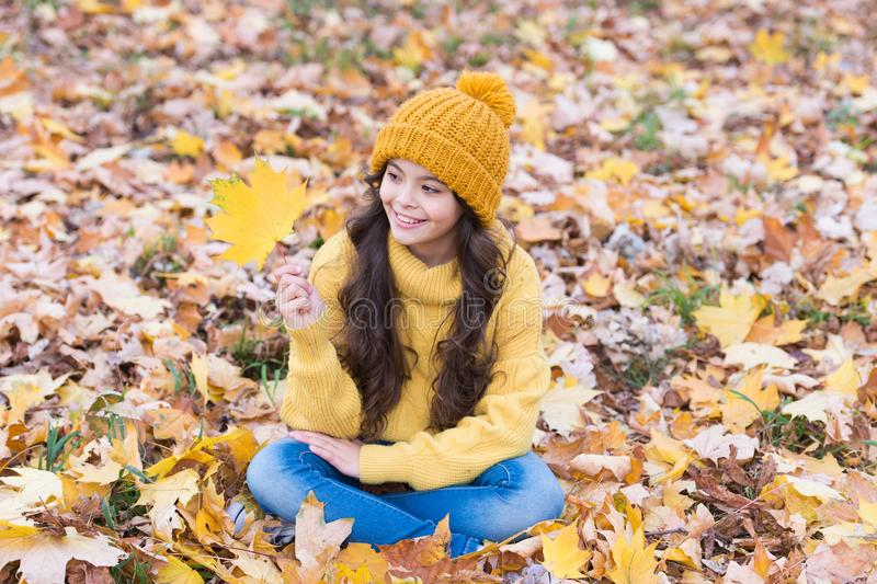 Playful mood. Warm woolen accessory. Girl long hair happy face fall nature background. Keep you warmest this autumn. Child in yellow hat outdoors. Hat keep royalty free stock photo