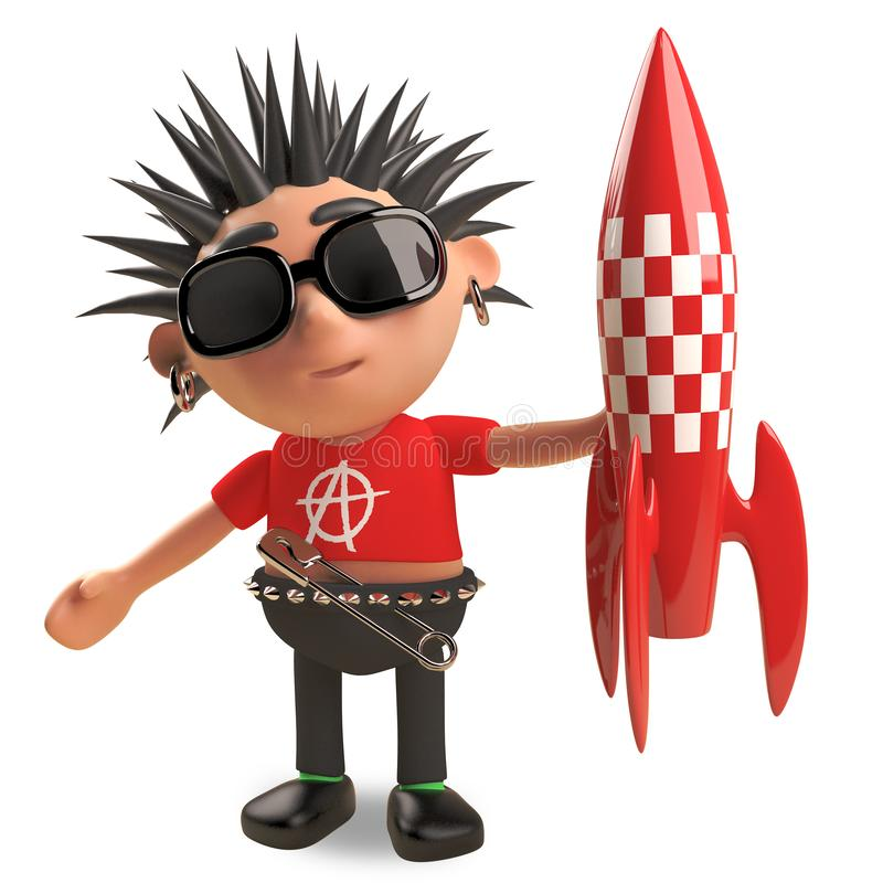 Playful punk rocker with spikey hair plays with a toy rocket spaceship, 3d illustration. Render vector illustration