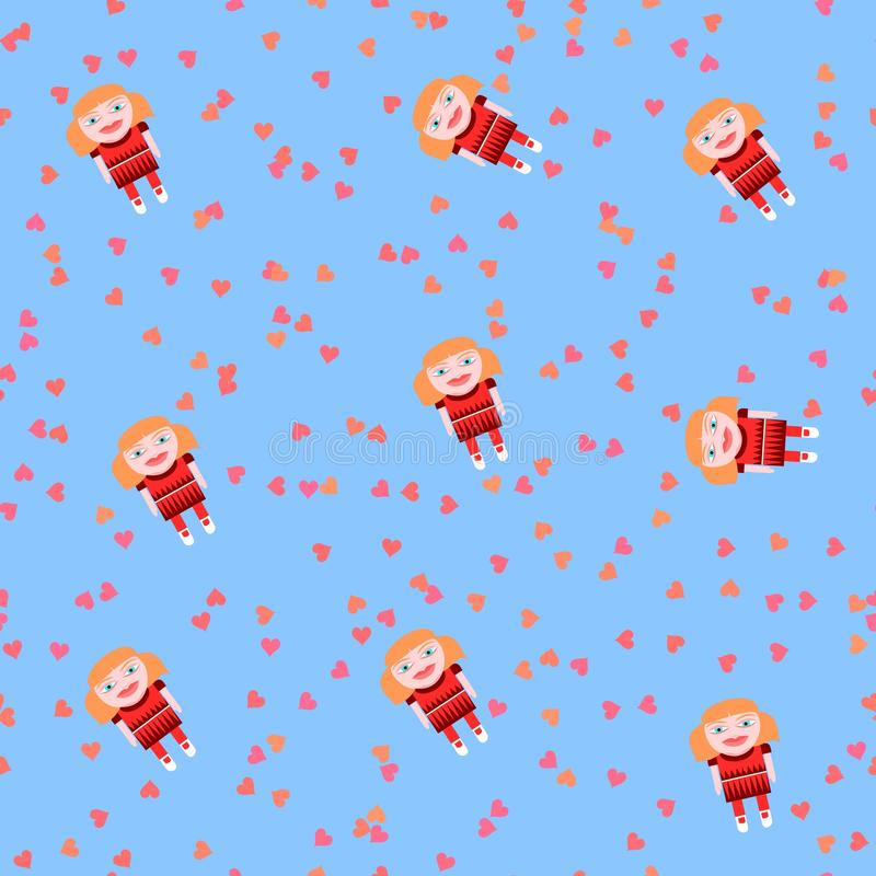 Playful seamless pattern with cute doll and pink hearts on baby blue stock illustration