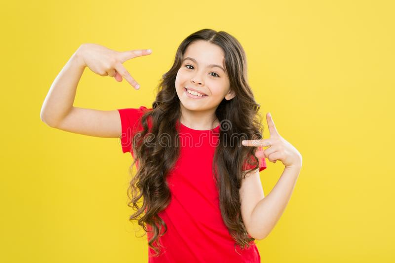 Playful teen model. Acting skills concept. Tips and tricks to loosen up in front of camera. Acting school for children. Develop talent. Girl artistic kid royalty free stock photo