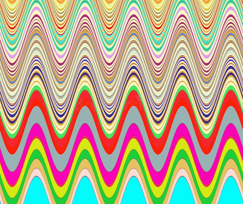 Playful waves shapes in rainbow colors vector illustration