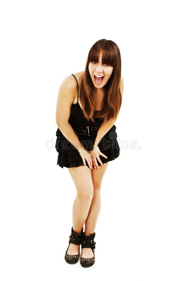 Playful Woman Excited Standing In Black Dress Royalty Free Stock Photos