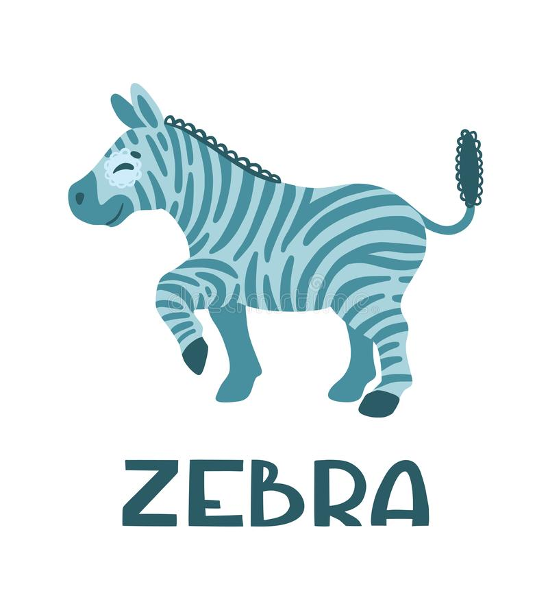 Playful zebra.  Cute cartoon kids character. vector illustration