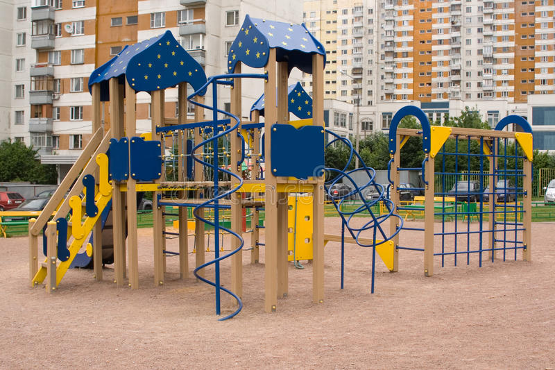 Playground. In one of the residential districts in southern Moscow stock images